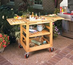 Patio Serving Cart   Woodsmith Plans - This easy-to-build cart features fold-out leaves, a recessed tray, and customized inserts. Perfect for your next cookout!