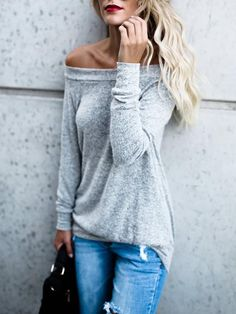 Fashion Off Shoulder Long Sleeve Casual Blouse Fall Outfits, Casual Outfits, Fashion Outfits, Women's Fashion, Fall Fashion Trends, Winter Fashion, Smart Casual Wear, Grey Long Sleeve Tops, Casual Tops