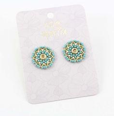 TOPOS VERDE MENTA - Comprar en accesorios Ave Maria Mint Green, Hail Mary, Stud Earrings, Accessories