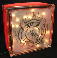 A unique gift for the firefighter in your life x x glass block light with images hand sandblasted into the glass on both sides of the block One side features Painted Glass Blocks, Decorative Glass Blocks, Lighted Glass Blocks, Glass Cube, Glass Boxes, Glass Art, Vinyl Crafts, Vinyl Projects, Wood Crafts