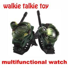 2 STKS Walkie Talkie Speelgoed Kinderen Militaire Stijl Horloge multifunctionele Twee Manier Radio Speelgoed met Kompas Vergrootglas Reflector