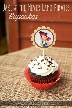 Jake and the Neverland Pirates Cupcakes toppers (Free Printable!) via Cupcake Diaries #disney #monthofdisney #freeprintable