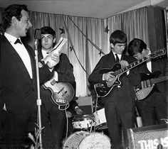 "Brian Epstein (manager of The Beatles) w/ ""the boys"""