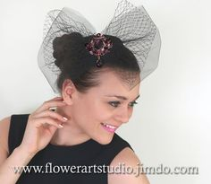 Handmade fascinator for black small hat, tulle and Russian veiling bows decorated with purple and lilac rhinestones brooch.   • On the back side of fescinator are alligator hair clips. • This...