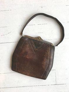 c79cede65d Antique 1910s tooled leather purse with Art Nouveau floral motif