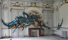 La Mouche (the fly) graffiti in an abandoned French building