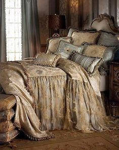 Shop luxury bedding sets and bedding collections at Horchow. Browse our incredible selection of full, queen, and king size luxury bedding sets. Dream Bedroom, Home Bedroom, Master Bedroom, Bedroom Decor, Old World Bedroom, Upstairs Bedroom, Spa Bedroom, Luxury Bedroom Sets, Fantasy Bedroom