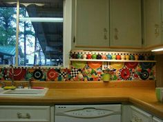 Broken Fiestaware Mosaic Backsplash