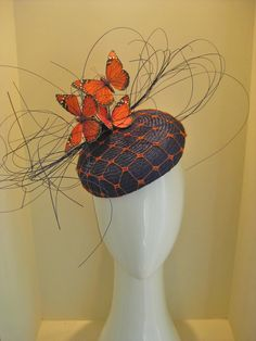 Flutterby button hat with jin sin and wired butterflies. By Jill and Jack Millinery, POA