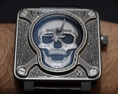 """Bell & Ross BR01 Burning Skull 'Tattoo' Watch Hands-On - by Ariel Adams - Why are these watches cool? They just aRRRRR! See the full photo gallery & read more on aBlogtoWatch.com """"'Burning skull tattoo' is not normally what I would consider to be a solid formula for a cool new timepiece. In fact, it sounds like quite the opposite. And yet… well, let's just say that this Bell & Ross BR01-92 Burning Skull Tattoo watch (officially 'just' called the 'Burning Skull') is surprisingly not awful..."""""""