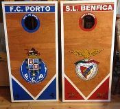 Benfica/Porto Soccer   Custom Made Corn hole Boards - These Cornhole boards are handcrafted, hand painted and custom made for each of our customers. Free set of cornhole bags are also provided for $189.99. They make great gifts for anyone for any occasion! We love custom orders and will make your team, theme or wedding. Contact us at www.fscustomcraft....