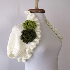 Ivory Shrug With Flowers Brooch EXPRESS by knittingshop on Etsy, $65.00