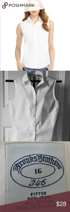Brooks Brothers Sleeveless White Top This sleeveless non-iron dress shirt is made from cotton and specially treated to resist wrinkles. Darting at the front and back lends the silhouette a slightly tailored fit and appearance. This shirt is designed with a forward point collar and pucker-free seams. Shirt is used but in great condition!  Machine wash according to care instructions for best performance; imported. Brooks Brothers Tops