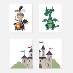 Fairy Tale Nursery Art Child Baby Set of 4 Art Prints White Grey Navy Blue Orange Teal Boy Knight Dragon Castle Kids Room Wall Decor Art This is for 1 set of 4 prints available by email or printed in your choice of 4 x 6, 5 x 7, 8 x 8*, 8 x 10, 10 x 10* or 11 x 14 (may also be sold as sets). Each print can also be sold separately, if you wish to only buy one print please go here: https://www.etsy.com/listing/157573511/custom-print-or-single-print-from-a-set Print(s...