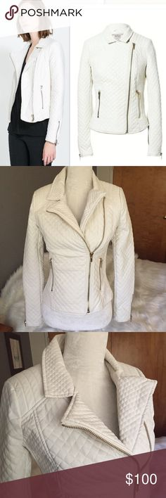 """Zara winter white quilted vegan leather jacket med Mint condition winter white quilted vegan leather jacket with gold hardware. No flaws. Size medium. 2 zip exterior pockets. Fully lined. Stretch side panels. 34-38"""" bust with stretch. 15"""" shoulders. 21"""" length. Zara Jackets & Coats"""