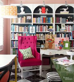 Sometimes, a single design element can make all the difference. Take this eclectic study, for example. By adding a chic scalloped detail to the top of the row of bookshelves, the space becomes instantly layered and interesting. Imagine the room without this shapely element, and the overall look is a little more expected. With it, though, the room comes alive with character./