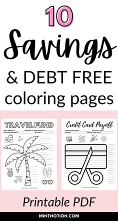 Visual savings trackers and debt payoff coloring pages. Having a visual add can be a great way to stay motivated when paying off debt. Save more money and track your progress with these fun money challenge printables. Organize your sinking funds with these beautiful savings trackers. Debt free chart.