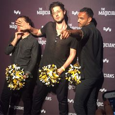 Jason Ralph, Hale Appleman, and Arjun Gupta being the super-serious #TheMagicians contingent at San Diego Comic Con.