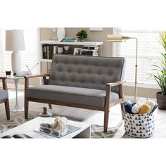 Baxton Studio Sorrento Mid-century Retro Modern Grey Fabric Upholstered Wooden 2-seater Loveseat (Loveseat-Grey), Brown (Foam)