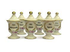 Limoges Porcelain Apothecary Jars Set of 6. by LeBonheurDuJour