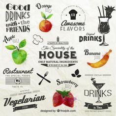 果物とレトロなラベル 無料ベクター