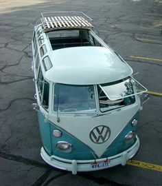 Hippy bus classic with top open and one eye open on this cute splitty