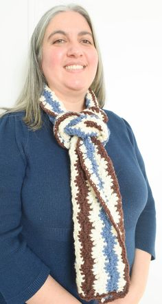 A classic chevron stitch in three colors adds the appearance of movement to this long, cozy scarf crocheted in Imperial Yarn Erin. Knitting Patterns Free, Free Pattern, Crochet Patterns, Scarf Patterns, Free Crochet, Knit Crochet, Cozy Scarf, Crochet Scarves, Craft Fairs