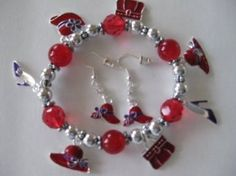 Pretty Charm Bracelet and Matching Earings Set!!! Red Hat Ladies Society Gotta Have Florida Hat Company. $7.99
