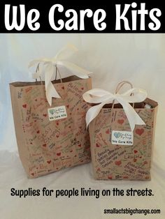 Our We Care Kits are hand-decorated bags that are filled with necessities for people who are homeless.  The kits are filled with items that a homeless person might need including toiletries, non-perishable food, water, and practical items.  As an added touch, our volunteers include a personal note of encouragement in every bag.  Want to help? Please contact us!