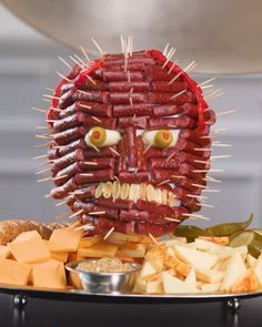 Sausage Head Charcuterie Board Halloween Recipes Sausage Head Charcuterie Board Halloween Recipes MyRecipes myrecipes Halloween Treats Sculpting a terrifying head using the components of a nbsp hellip Board videos Halloween Snacks, Comida De Halloween Ideas, Halloween Finger Foods, Recetas Halloween, Halloween Themed Food, Halloween Party Appetizers, Halloween Entertaining, Snacks Für Party, Halloween Recipe