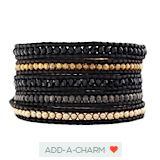 The Vintage Gold Pearl Mix Wrap Bracelet on Natural Black Leather by Jewelry Designer Chan Luu
