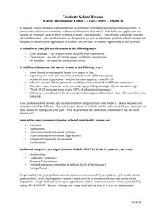 Graduate school admissions resume cover letter