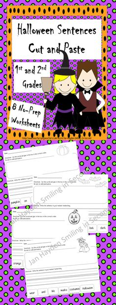 When your students are anxious for Halloween and can't concentrate on their work, this is your answer. This is a set of eight cut and paste worksheets with a Halloween theme. Students sort out the sentences, paste them to the page and them write the sentences in their best handwriting. This requires no preparation from the teacher other than the copy machine. So easy!!