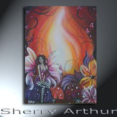 Fairy With Flowers And Mushrooms Red Orange by sherryarthur, $125.00