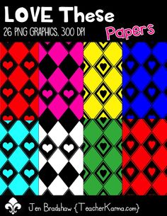 LOVE These Digital Papers!!!  26 png graphics created at 300 dpi.  Perfect for educational TpT products, classroom organization, and scrapbookers.  Commercial and personal use is ok.  TeacherKarma.com