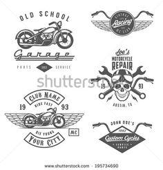 Set of vintage motorcycle labels, badges and design elements