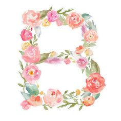 Silhouette Design Store - View Design #179494: watercolor floral monogram letter b