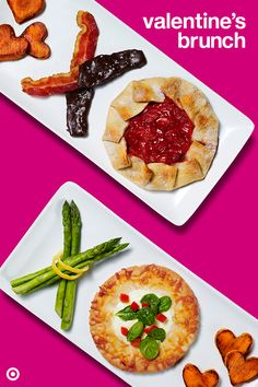 Spread the love around your family table with a tasty Valentine's Day brunch. Try these easy recipes: lemon garlic asparagus, breakfast pita pizza, sweet potato hearts, chocolate bacon, and strawberry pie.