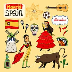 ◪ [Nulled Free]◲ Landmarks And Icons Of Spain Ball Barcelona Bottle Bull Bullfighting Culture Culture Day, Spain Culture, Republic Symbol, Spanish Flags, Spanish Heritage, Etiquette Vintage, Monuments, Travel Icon, Thinking Day