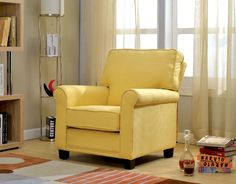 Single Chair With Yellow Flax Fabric