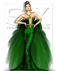 By SX Fashion Illustrations Green Fashion, Fashion Art, Fashion Show, Illustration Artists, Fashion Illustrations, Fashion Design Drawings, Green Art, Prom Dresses, Formal Dresses