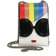 Alice + Olivia Rainbow-Print Stace Face Phone Chain Crossbody Bag ($195) ❤ liked on Polyvore featuring bags, handbags, shoulder bags, leather cross body purse, white leather handbags, purse crossbody, white crossbody purse and leather crossbody handbags