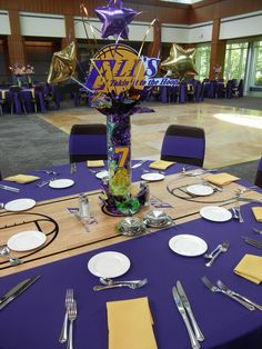 Our Bar Mitzvah boy LOVES the Lakers and wanted his party to reflect his passion for purple and gold. Here is the scoreboard we created for . Soccer Decor, Basketball Decorations, Bar Mitsva, Banquet Centerpieces, School Centerpieces, Baseball Centerpiece, Bar Mitzvah Themes, Football Banquet, Basketball Birthday Parties