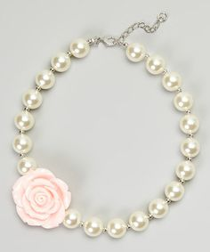 Look what I found on #zulily! Pink & White Rose Pearl Necklace #zulilyfinds