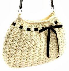 tejidos artesanales en crochet: bolso tejido al crochet en punto fantasia