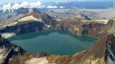 Katmai National Park, Alaska The crater lake in the collapsed summit of Mount Katmai was formed by the Novarupta volcano's 1912 eruption