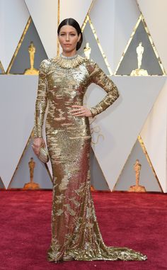 The Academy Awards 2017 Jessica Biel in Kaufman Franco and Tiffany & Co. jewelry