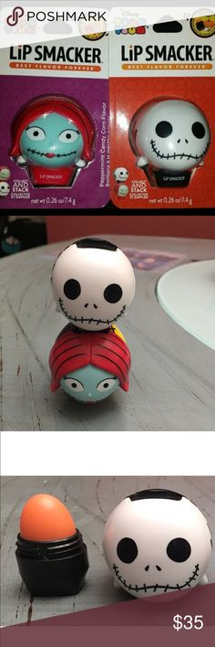 2 Disney Tsum Jack Skellington & Sally. Lip Balm This is for 2 of the Disney Holiday line of Tsum Tsum lip balm. The characters are the amazing Jack Skellington & Sally!! In the pictures I have shown what they look open and stacked. These are very similar to EOS but with that amazing Disney design!! Jack's flavor is pumpkin spice latte and Sally's is peppermint candy corn. Both of them smell amazing and the scent/flavor last for hours. You will get two brand new sets with this listing very…