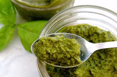 Simple healthy Basil Pesto with just half the fat of traditional pesto! #vegan #glutenfree #healthy #recipes