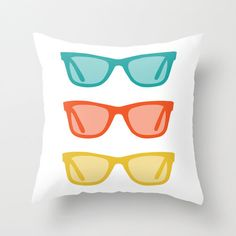 Edens  Sunglasses Pillow Cover  Turquoise Teal Orange by AldariHome, $35.00